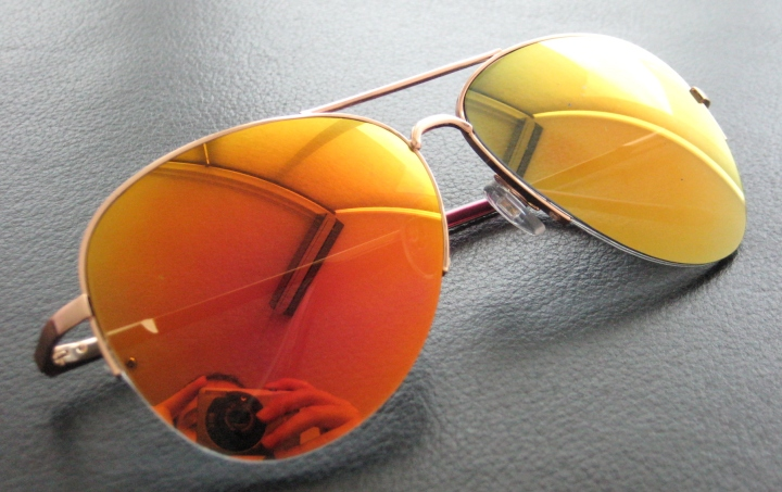 orange mirrored aviator-style